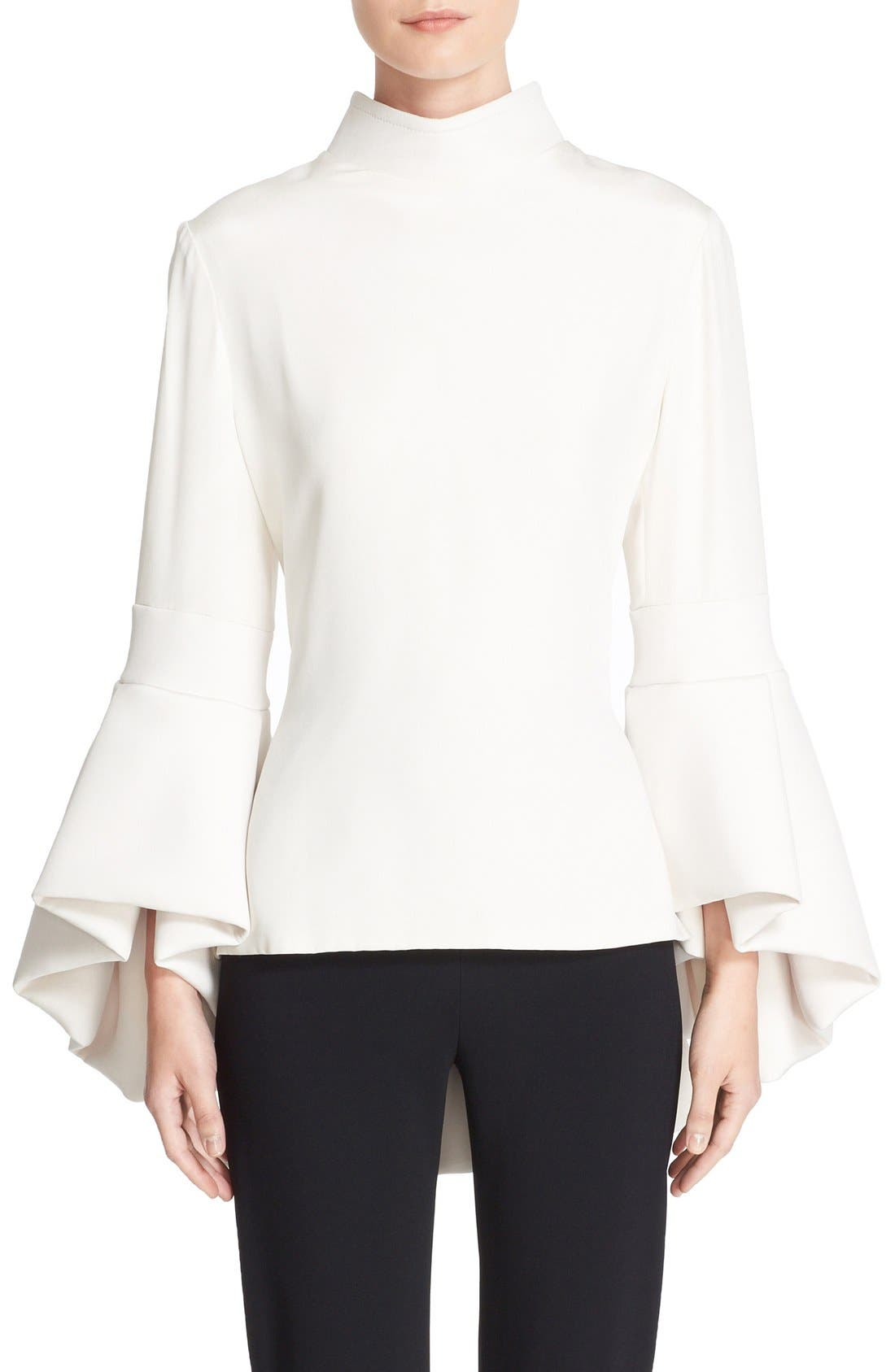 Alternate Image 1 Selected - Brandon Maxwell Bell Sleeve Peplum Back Top