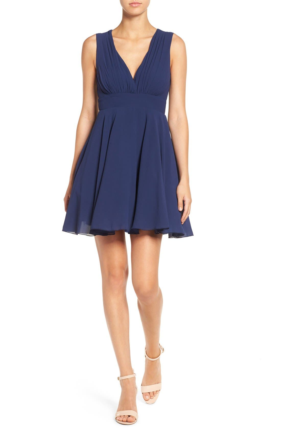 Alternate Image 1 Selected - TFNC V-Neck Fit & Flare Dress