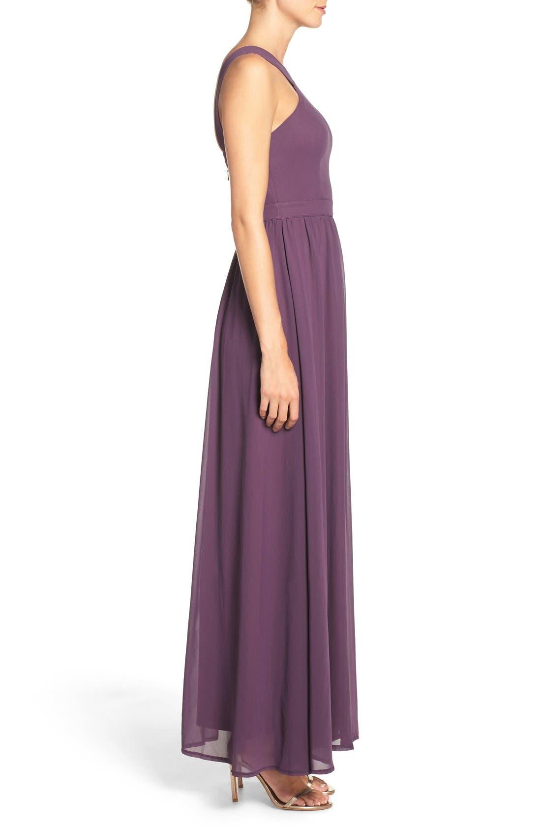 Alternate Image 3  - Lulus Cross Neck A-Line Chiffon Gown