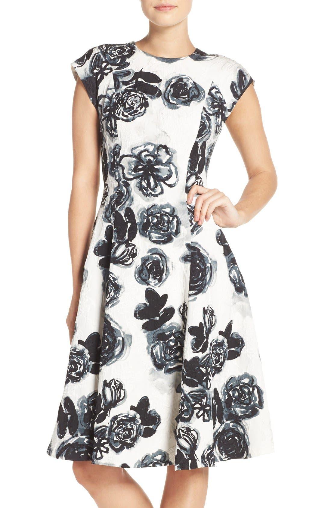 Main Image - Sachin & Babi Noir 'Desiree' Floral Jacquard Fit & Flare Dress
