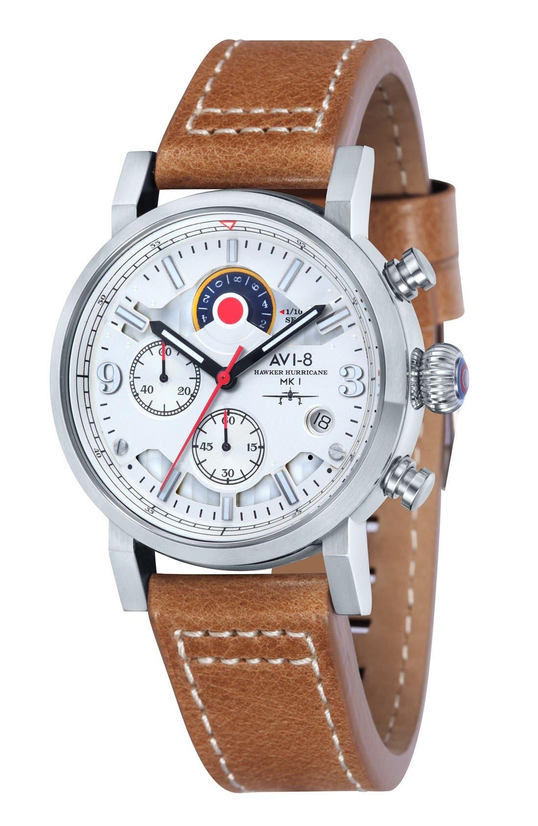 AVI-8 'Hawker Hurricane' Chronograph Leather Strap Watch, 42mm