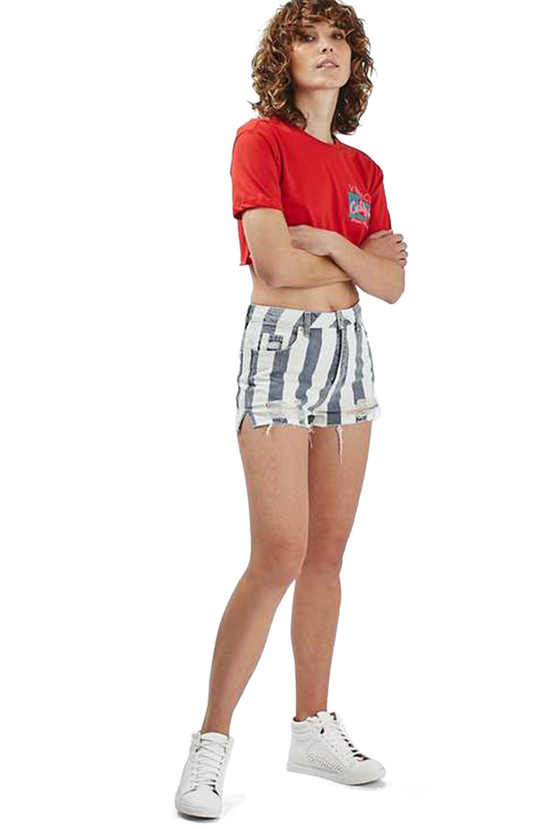 Alternate Image 2  - Topshop Stripe Distressed Denim Shorts