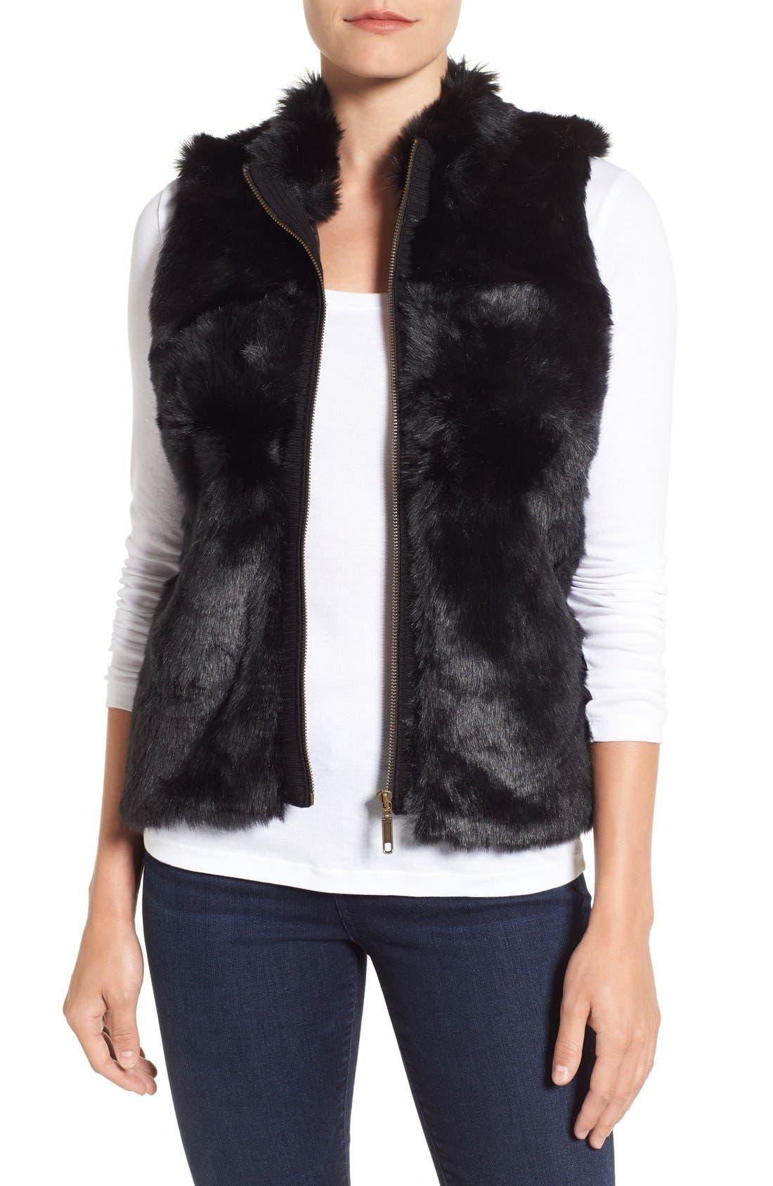 Foxcroft Zip Front Faux Fur Vest (Regular & Petite)