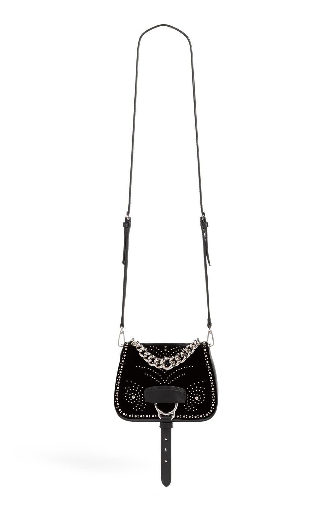 Alternate Image 2  - Miu Miu 'Small Dahlia' Velvet & Calfskin Leather Saddle Bag