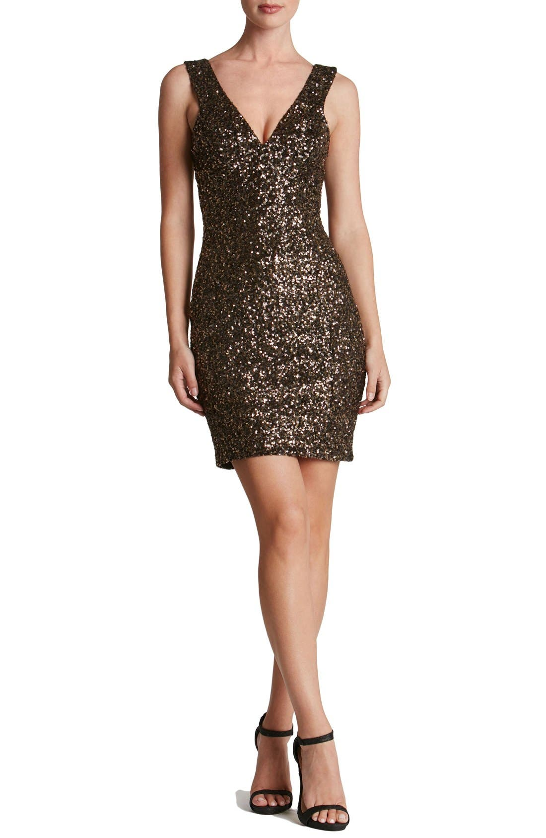 Main Image - Dress the Population 'Sam' Plunge Sequin Body-Con Dress