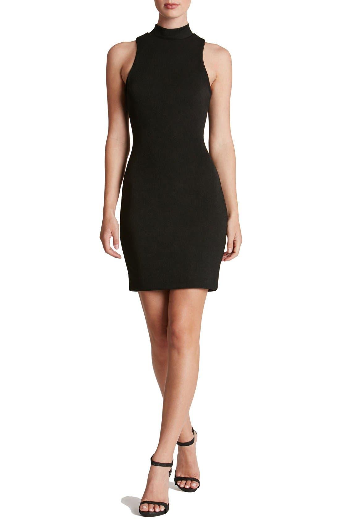 DRESS THE POPULATION 'Lisa' Mock Neck Body-Con Minidress