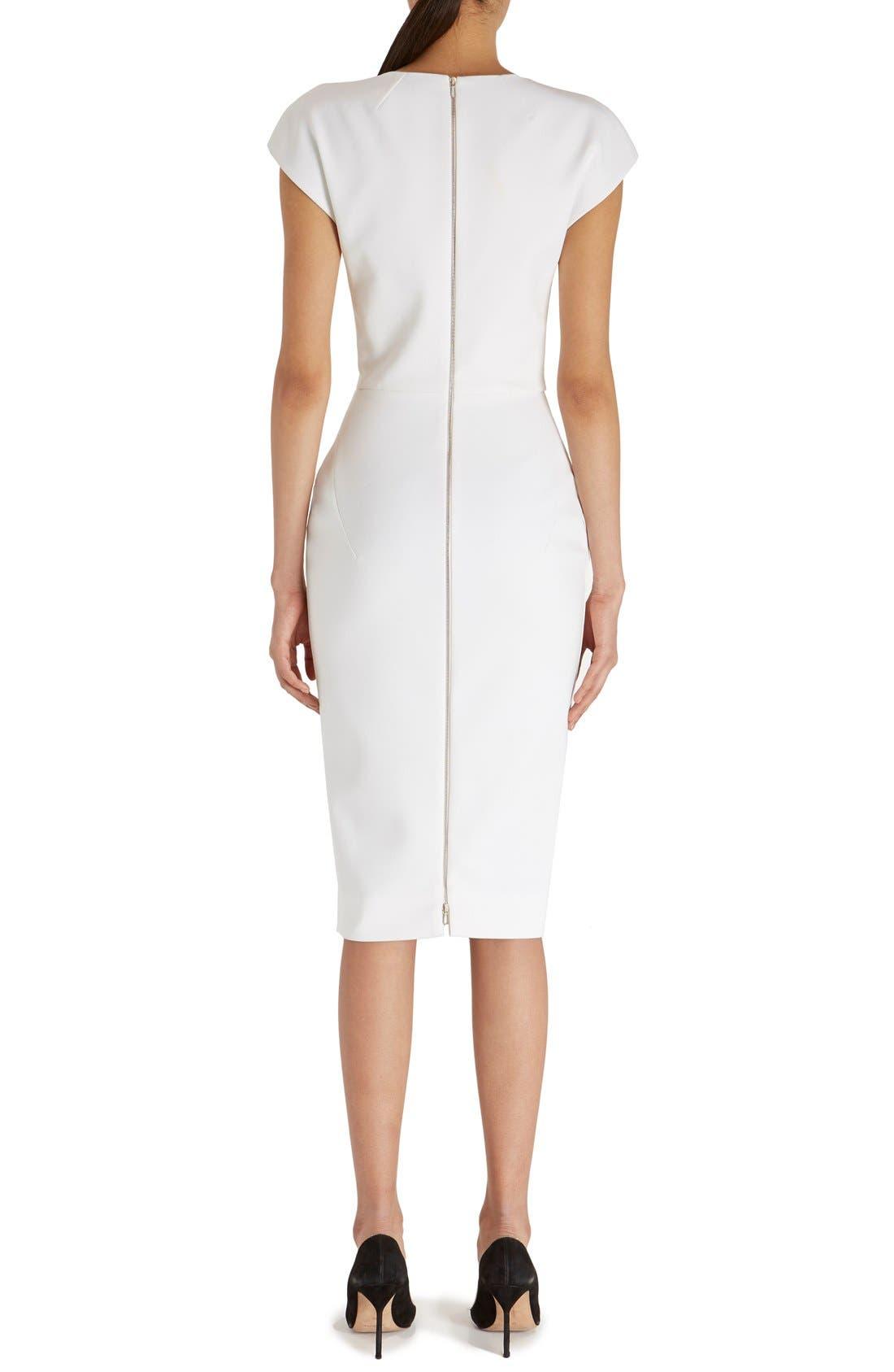 Alternate Image 2  - Victoria Beckham Cap Sleeve Cotton Blend Sheath Dress