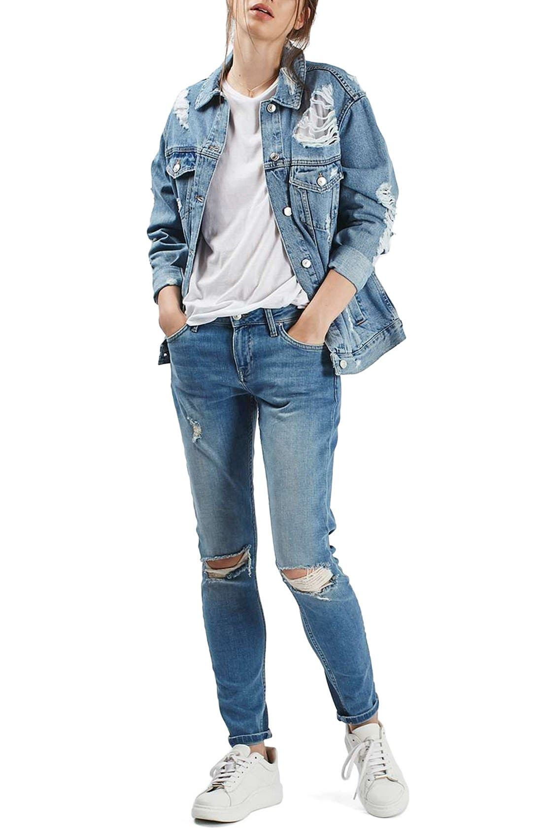 Alternate Image 2  - Topshop Ripped Oversize Denim Jacket