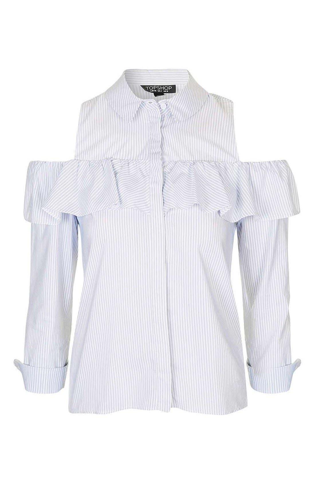 Alternate Image 4  - Topshop Stripe Ruffle Cold Shoulder Shirt
