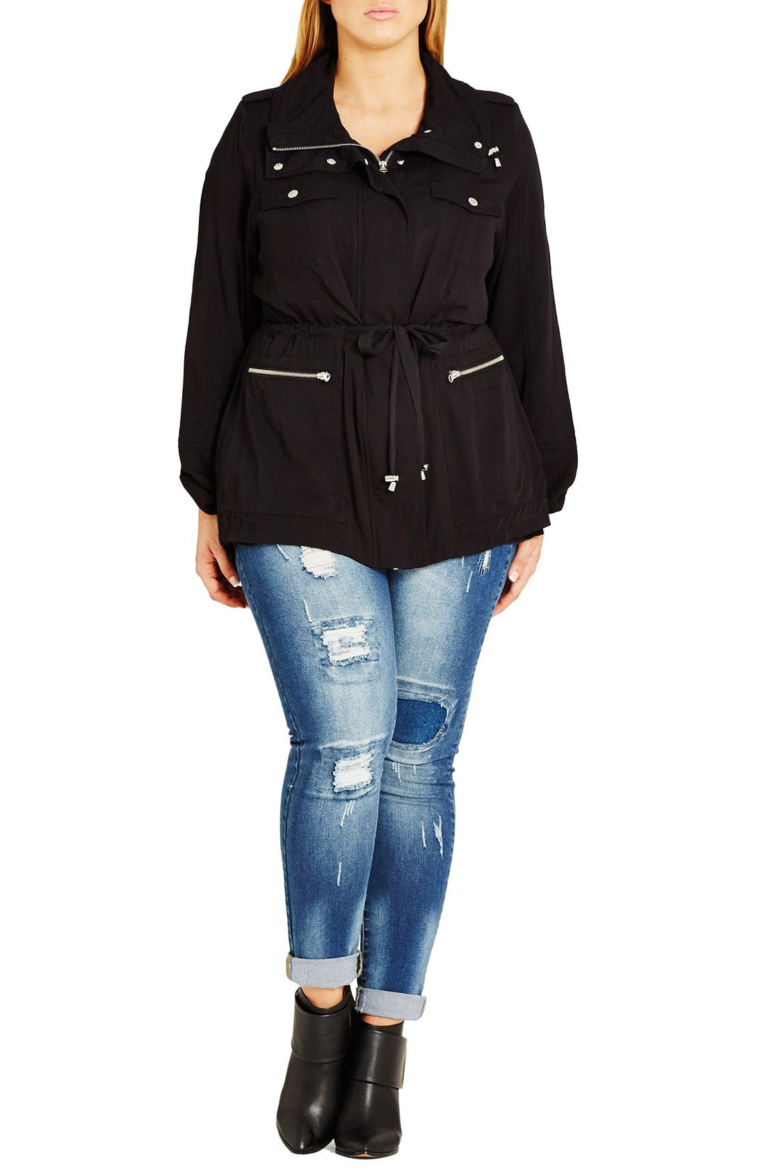 City Chic Lightweight Drawstring Waist Utility Jacket (Plus Size)