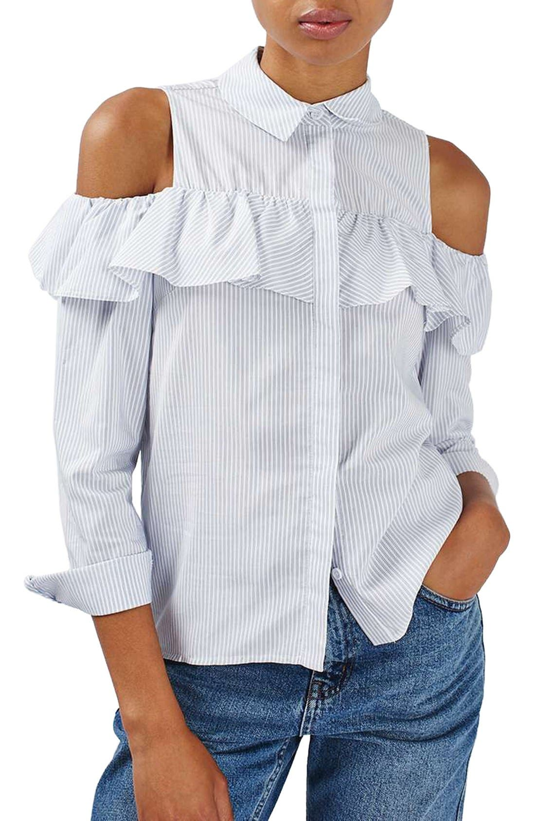 Main Image - Topshop Stripe Ruffle Cold Shoulder Shirt