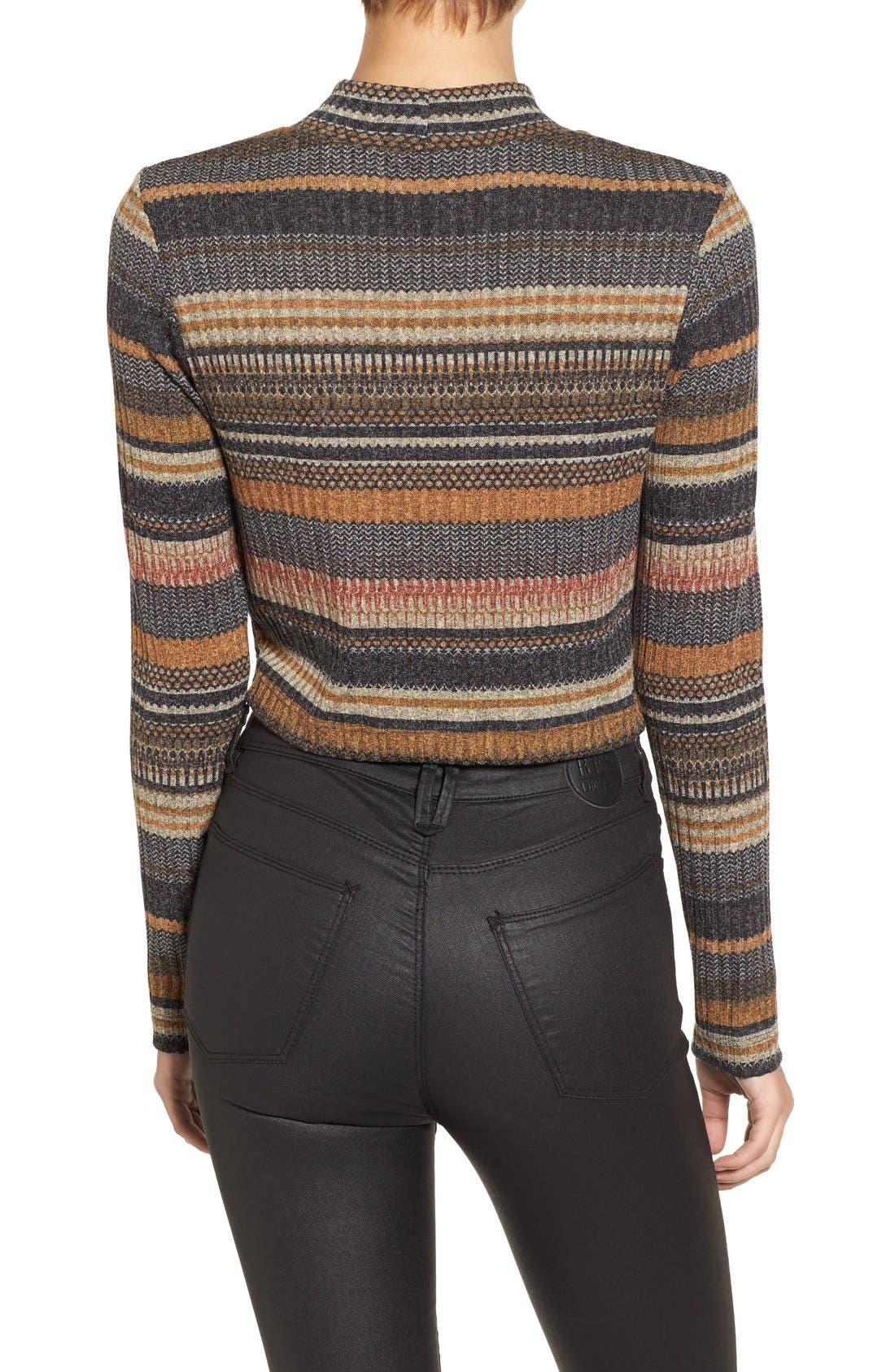Alternate Image 3  - Mimi Chica Stripe Mock Neck Sweater