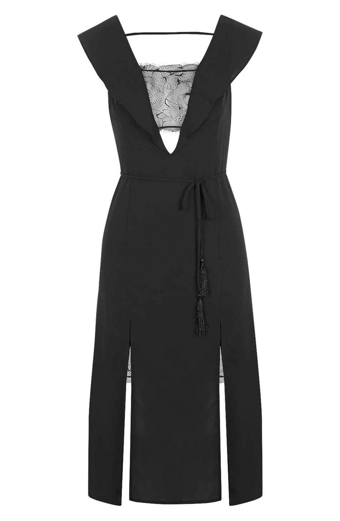 Alternate Image 3  - Topshop Lace Trim Flutter Sleeve Midi Dress