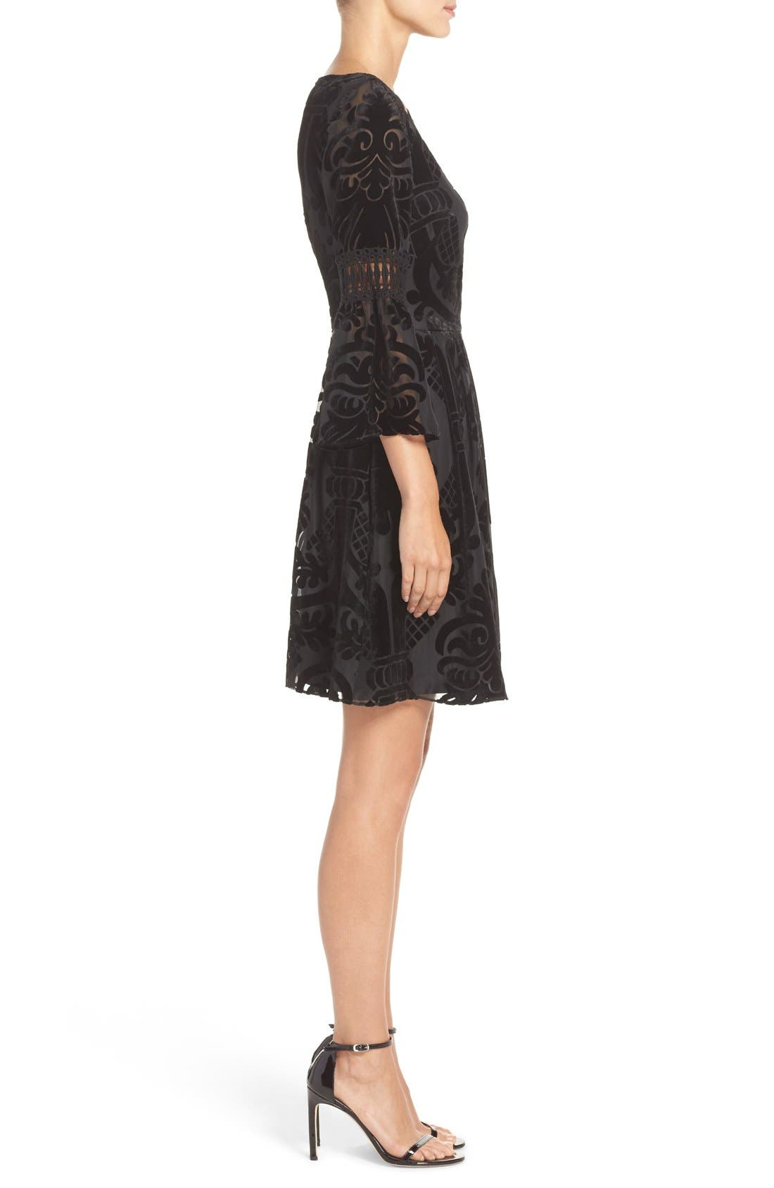 Alternate Image 3  - Eliza J Burnout Velvet Fit & Flare Dress (Regular & Petite)