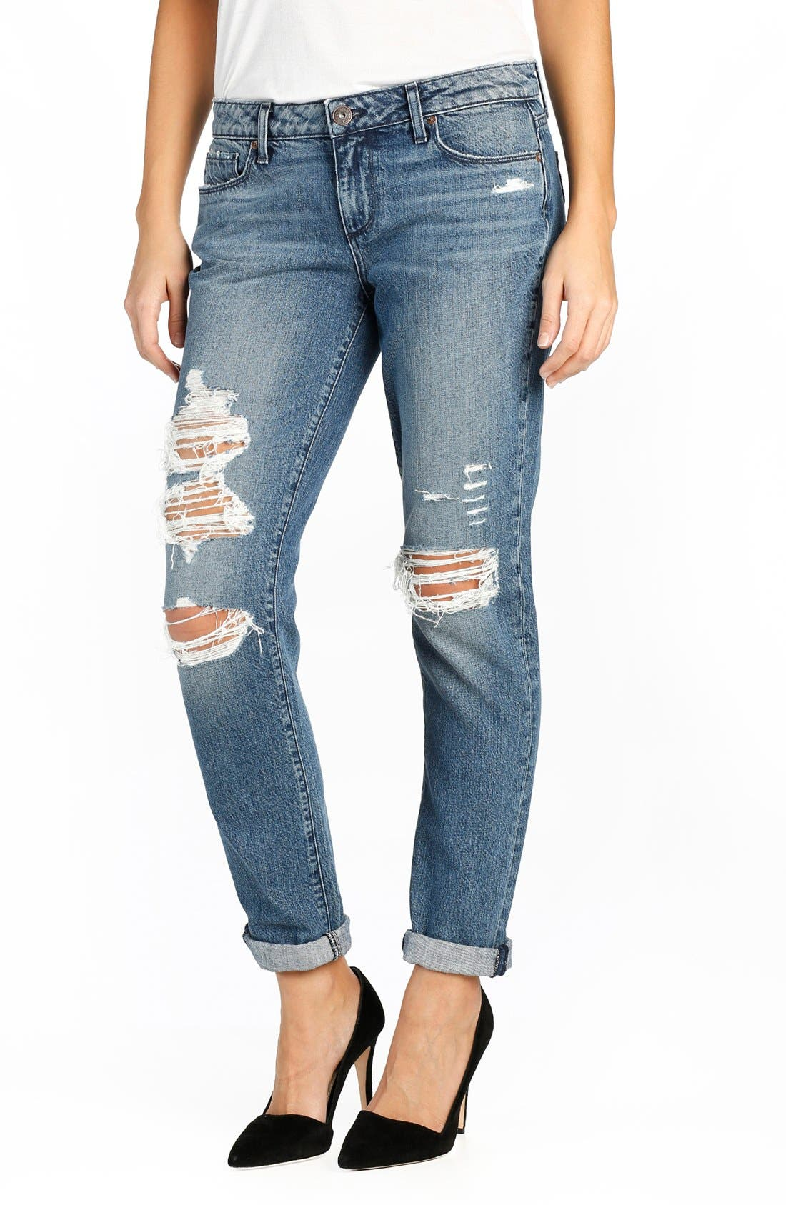 Main Image - PAIGE 'Jimmy Jimmy' Destroyed Skinny Jeans (Westley Destructed)