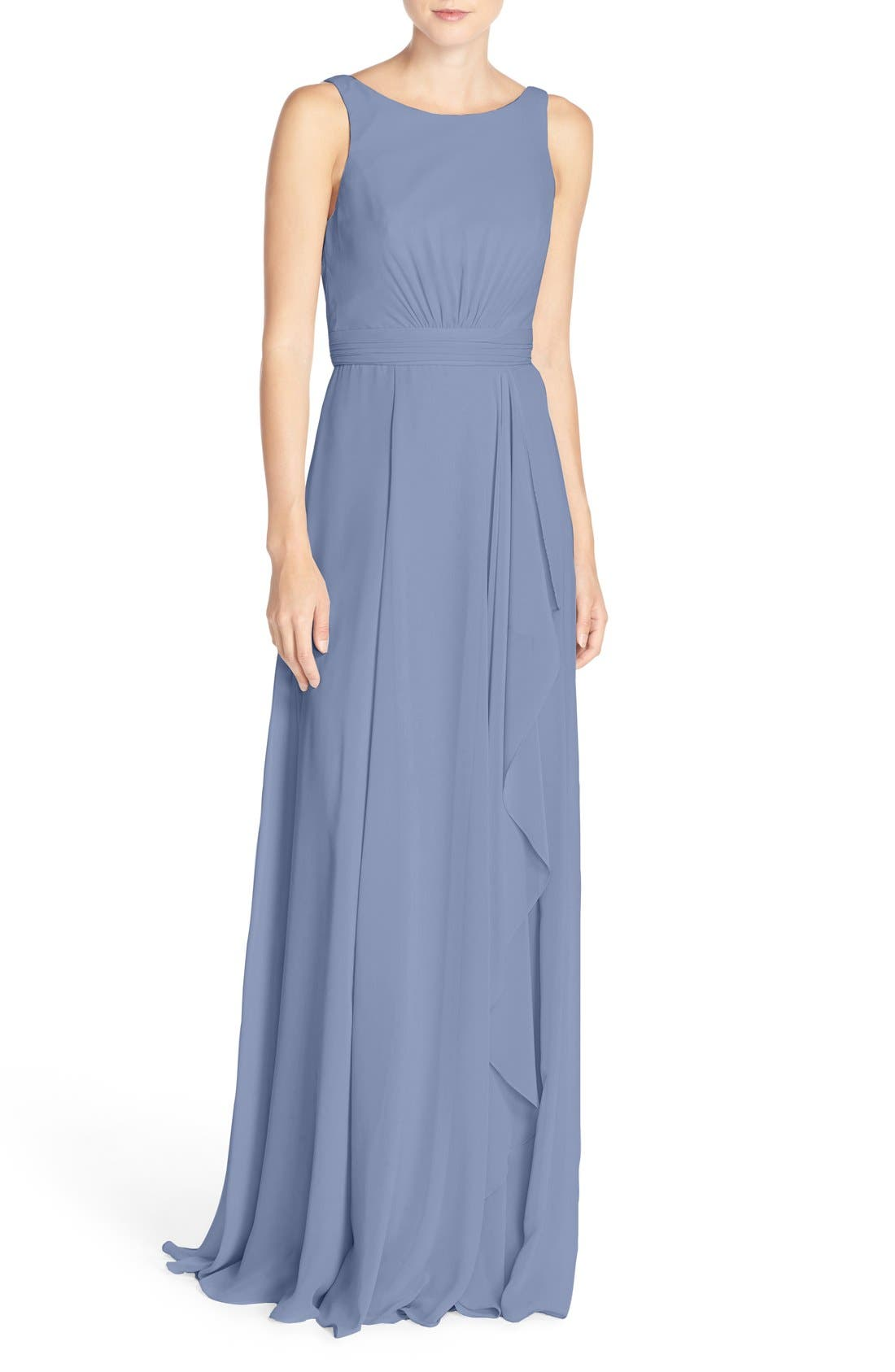 Amsale 'Rory' Sleeveless V-Back Chiffon Gown