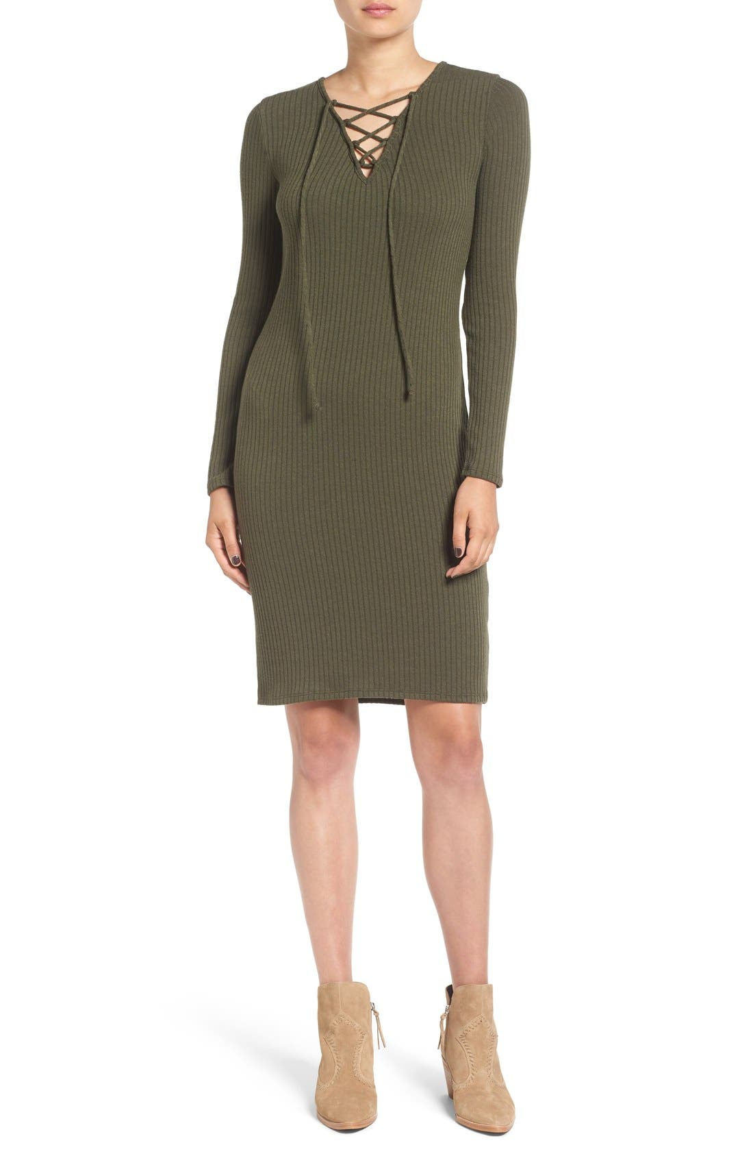 Main Image - One Clothing Lace-Up Neck Ribbed Body-Con Dress