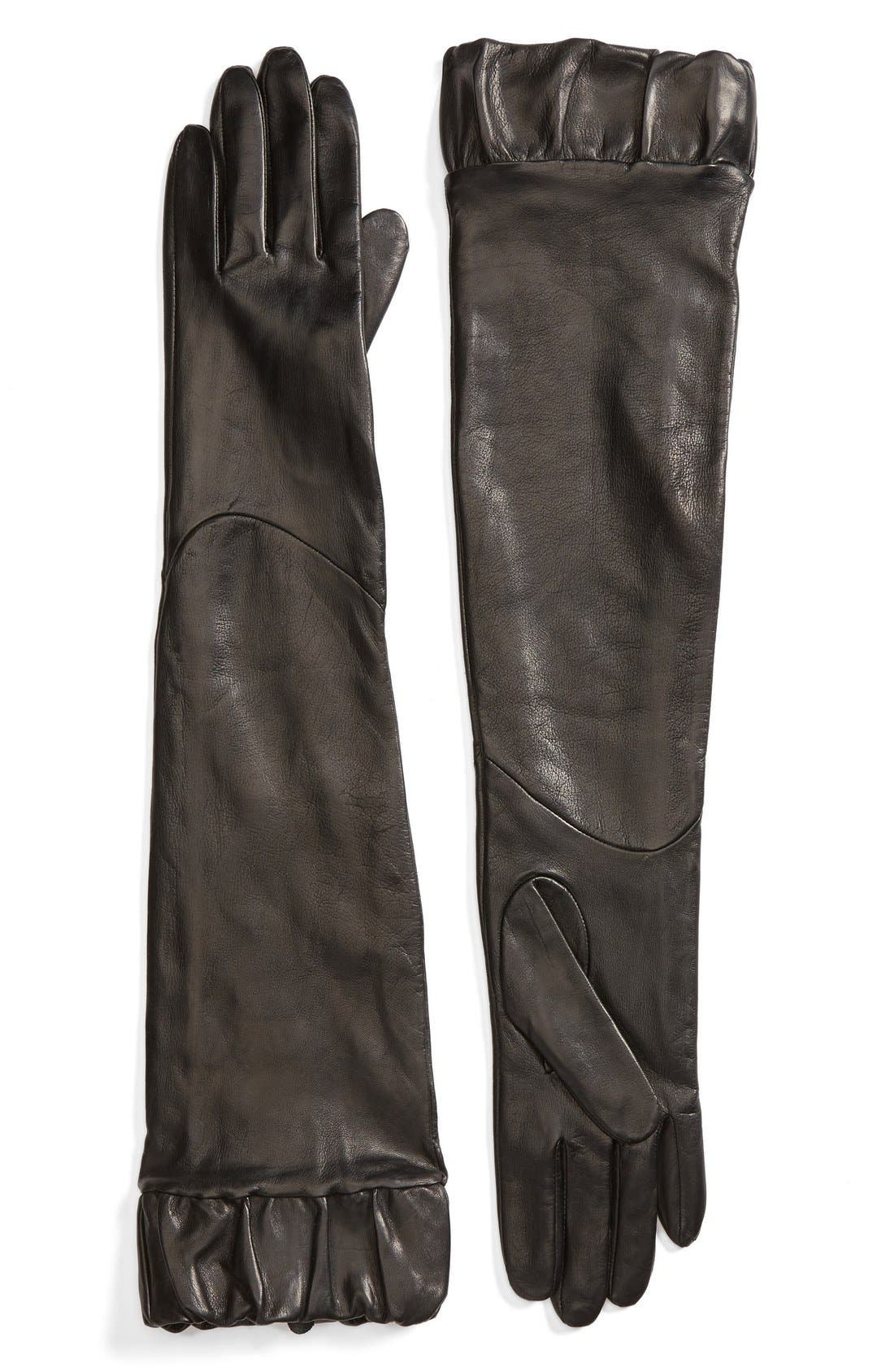 Alternate Image 1 Selected - Fownes Brothers Ruffle Trim Long Leather Gloves