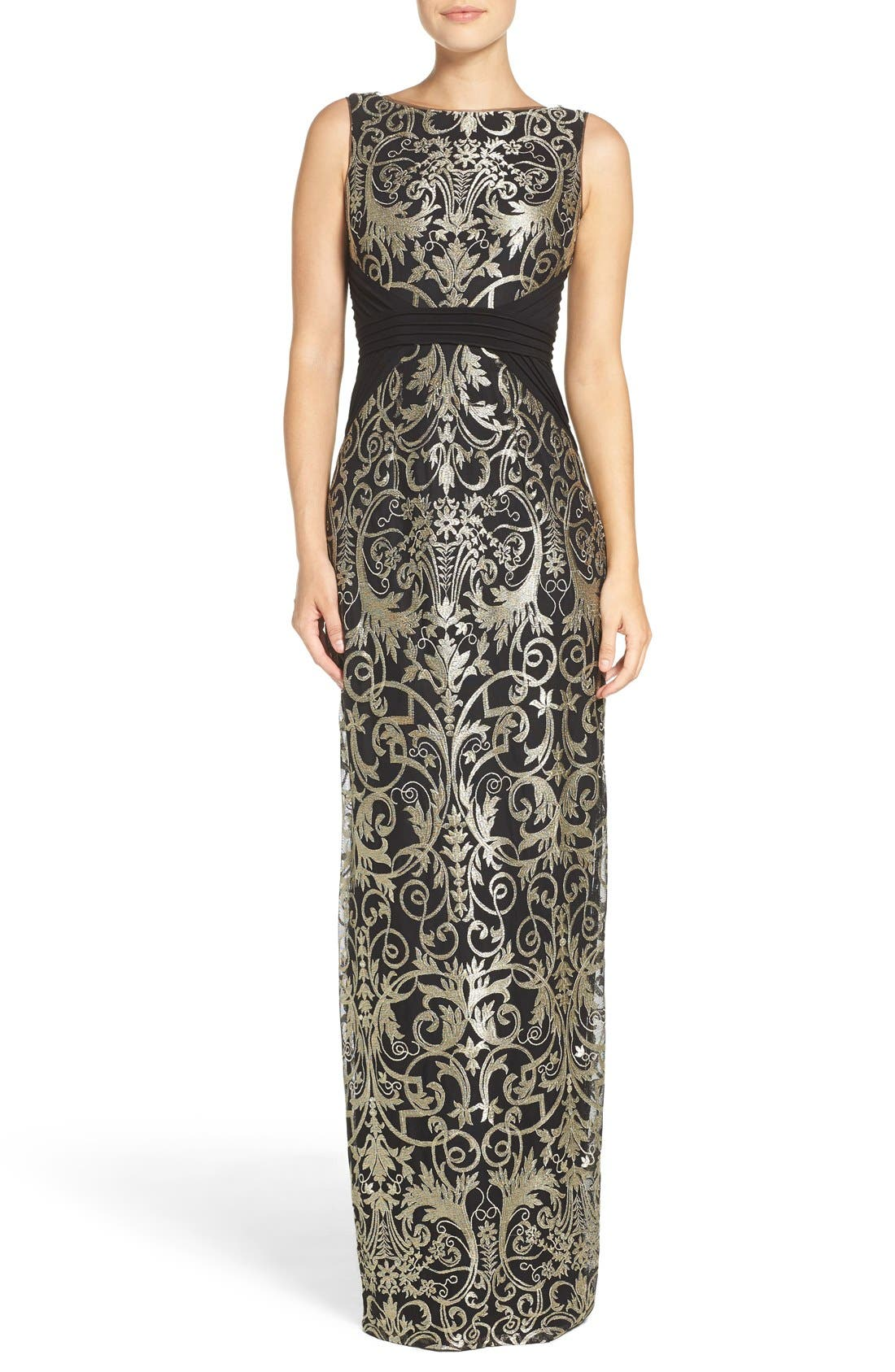Alternate Image 4  - Adrianna Papell Embroidered Jersey Column Gown