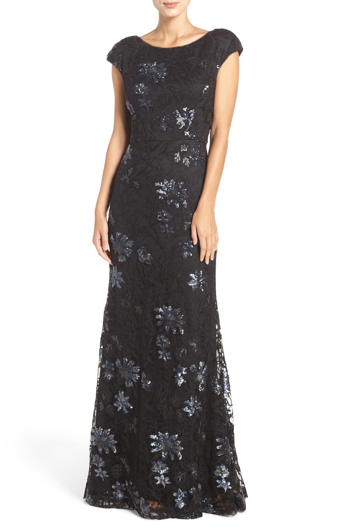 Main Image - Vera Wang Sequin Lace Gown