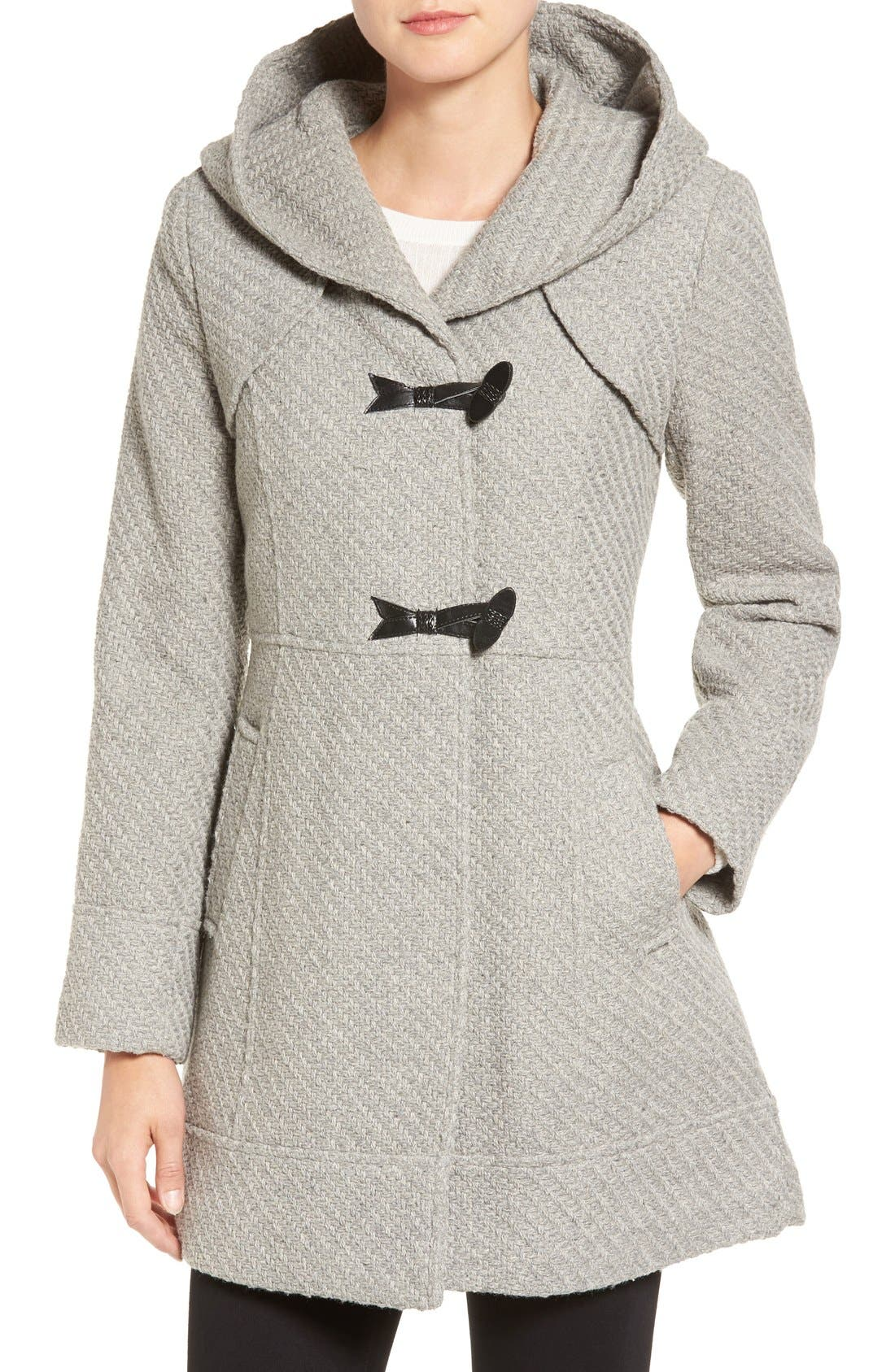 Alternate Image 1 Selected - Jessica Simpson Hooded Basket Weave Duffle Coat