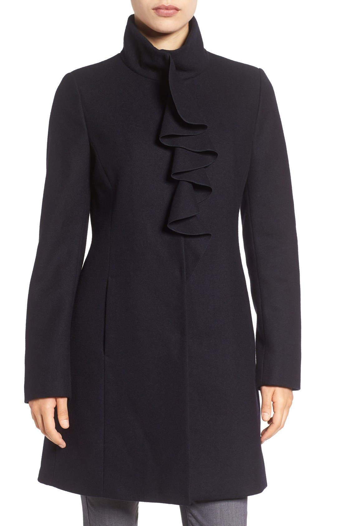 Main Image - Tahari Kate Ruffle Wool Blend Coat