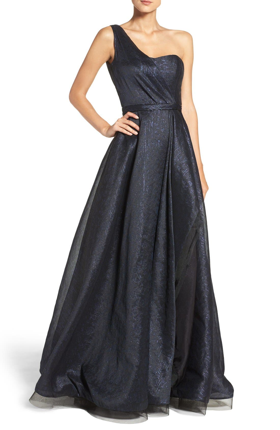 Alternate Image 1 Selected - Pamella, Pamella Roland One-Shoulder Metallic Ballgown