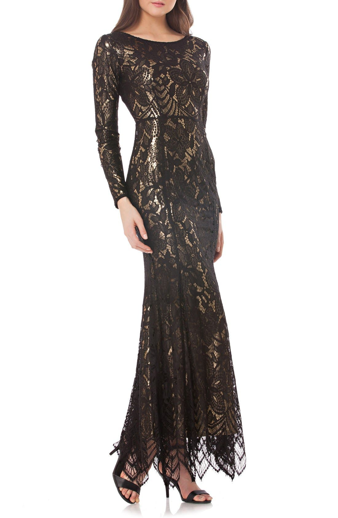 Alternate Image 1 Selected - JS Collections Metallic Mermaid Gown