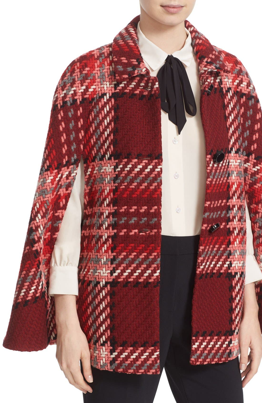 Alternate Image 4  - kate spade new york chunky plaid belted wool blend cape