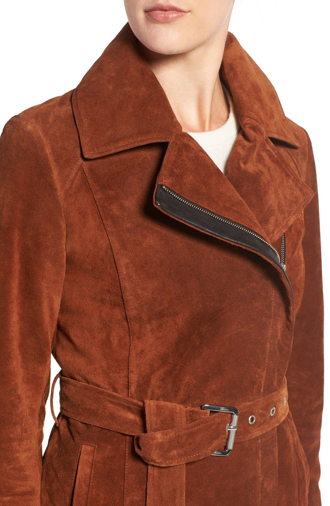 Alternate Image 4  - Andrew Marc 'Sienna 33' Suede Belted Trench Coat