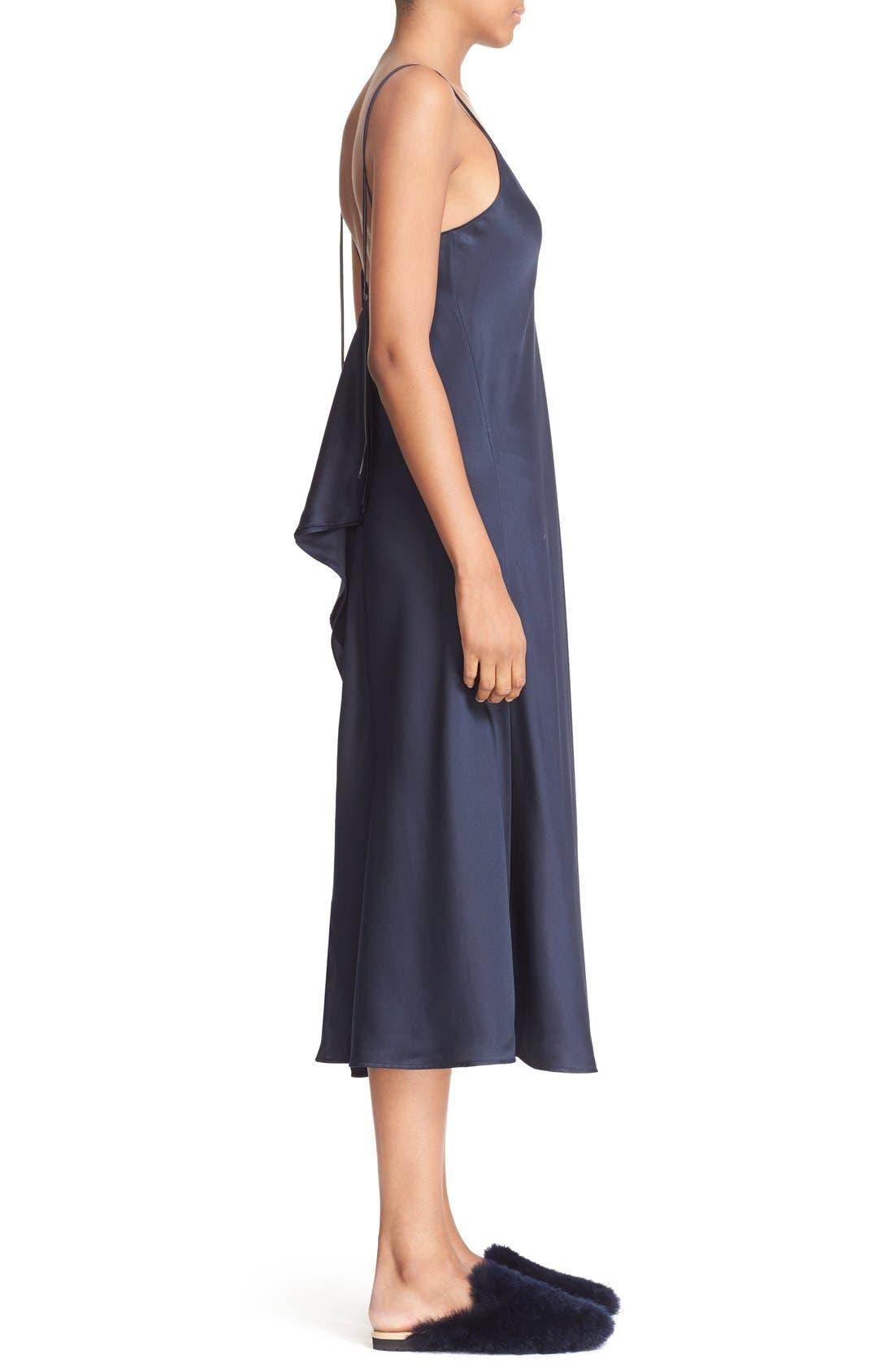 Alternate Image 3  - Helmut Lang Drape Back Silk Satin Dress