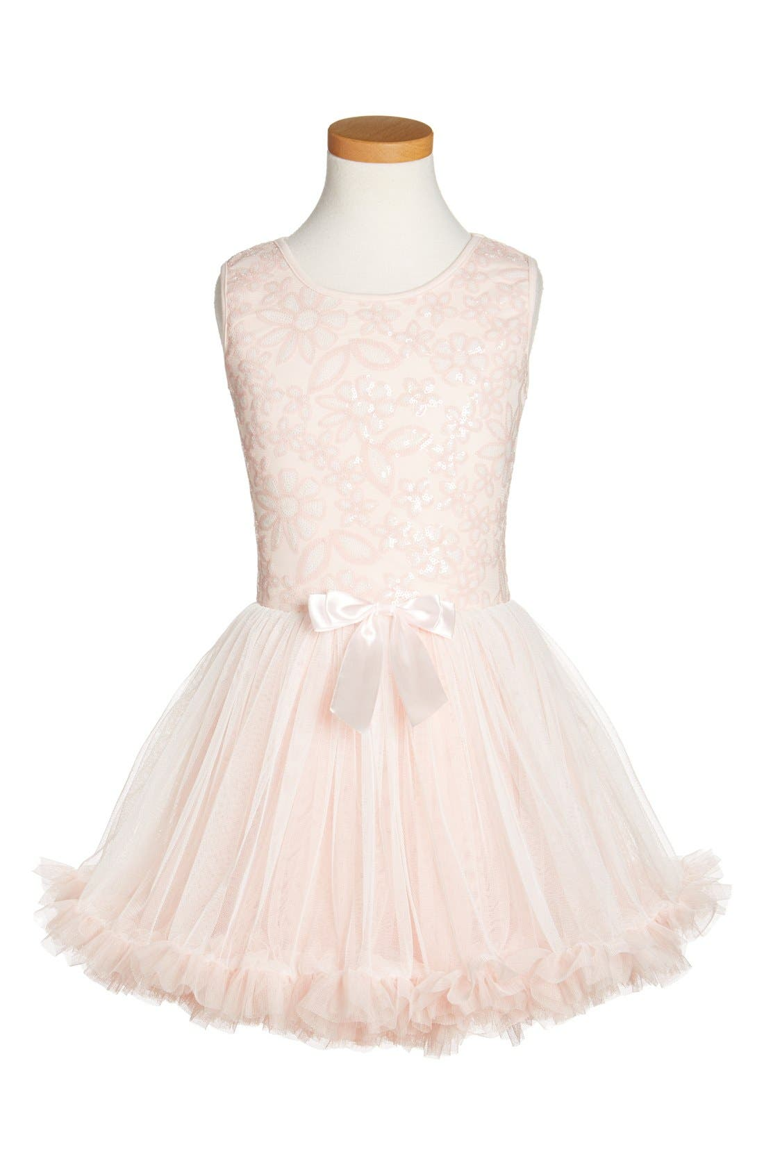 Popatu 'Peach Daisy' Sequin Pettidress (Toddler Girls & Little Girls)