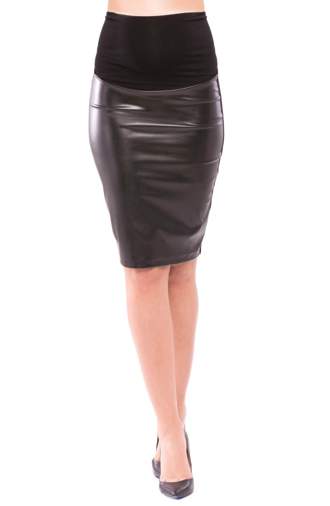 Olian 'Melissa' Faux Leather Maternity Pencil Skirt