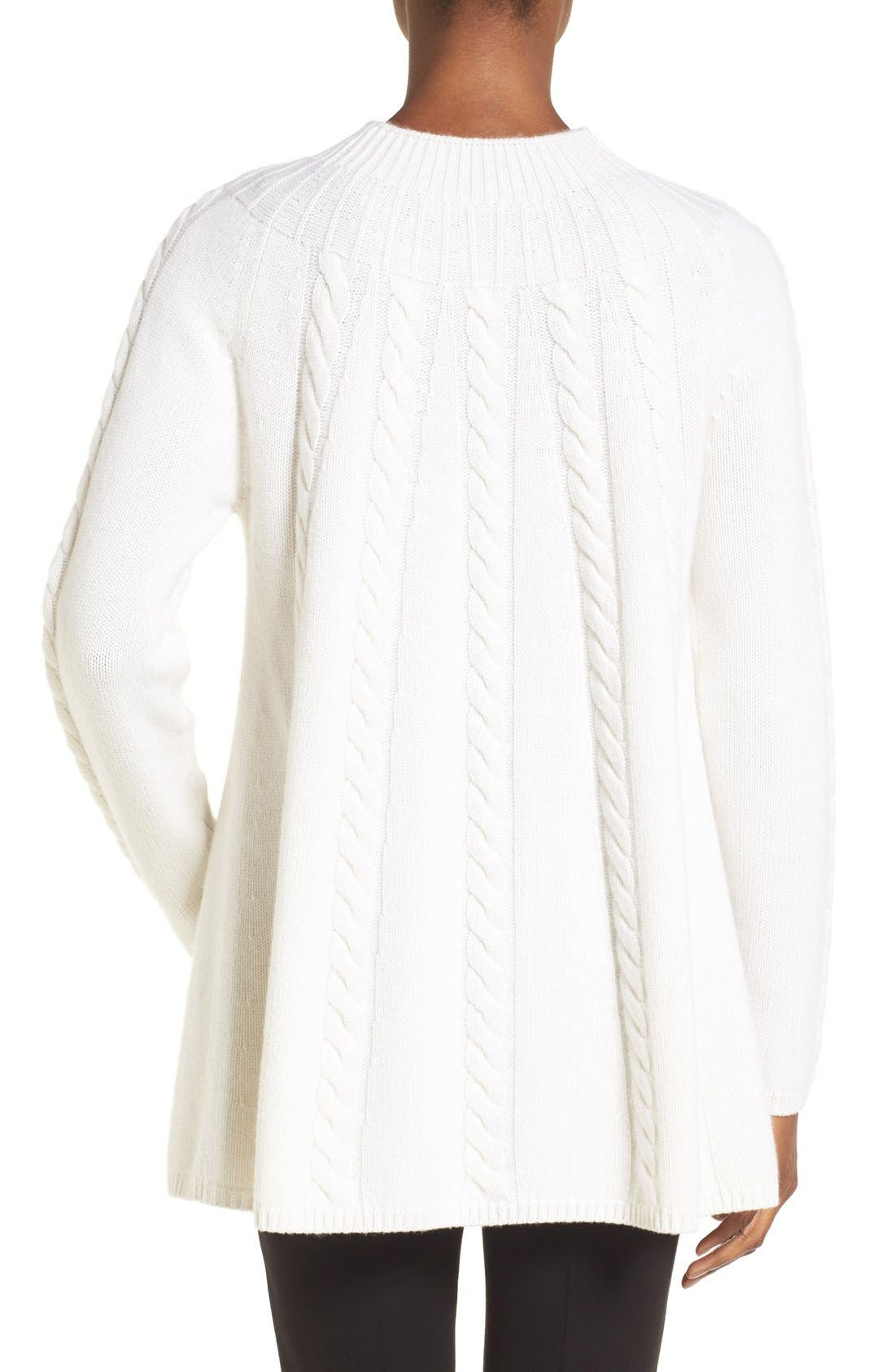 Alternate Image 2  - Nordstrom Collection Cashmere Cable Knit A-Line Pullover