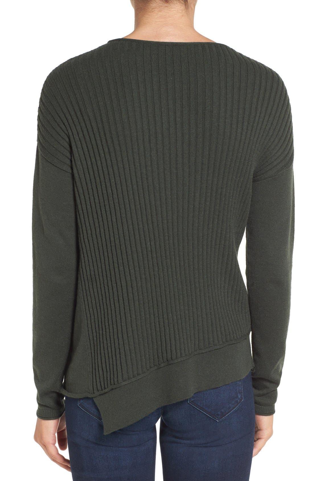 Alternate Image 2  - Caslon® Asymmetrical Ribbed Sweater