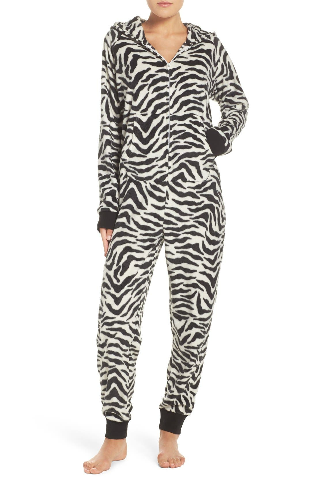 Alternate Image 1 Selected - COZY ZOE 'Critter' Zebra One-Piece Pajamas