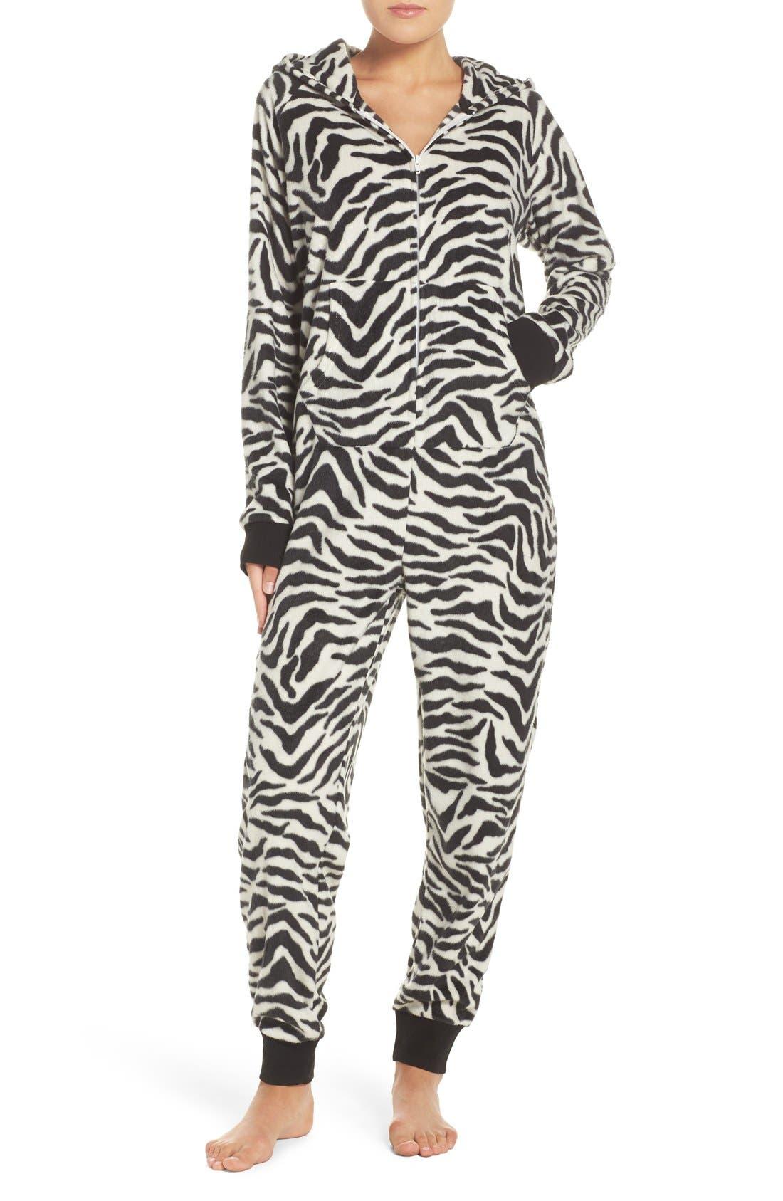 Main Image - COZY ZOE 'Critter' Zebra One-Piece Pajamas