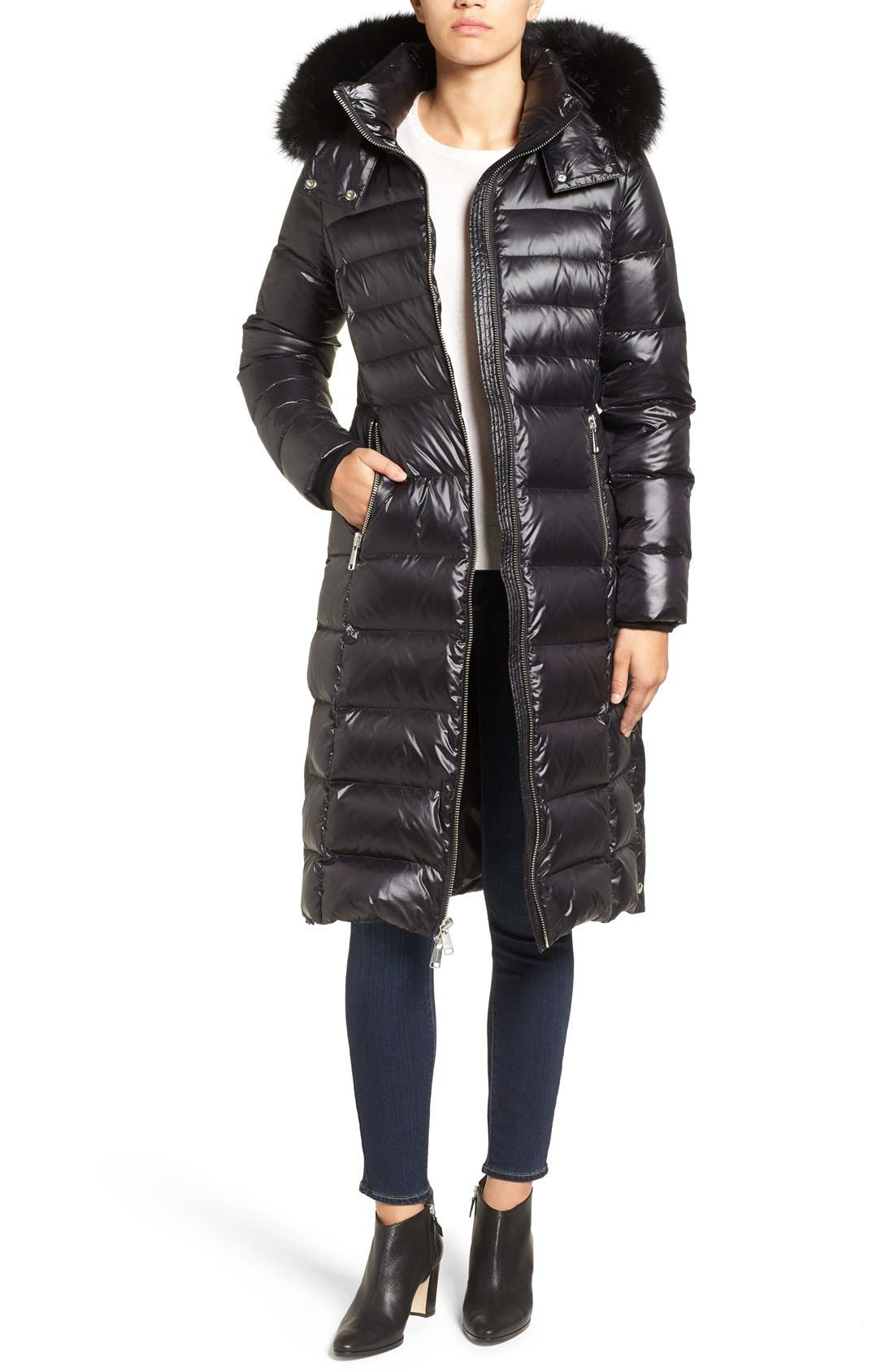 Alternate Image 1 Selected - Andrew Marc Down Coat with Genuine Fox Fur Trim