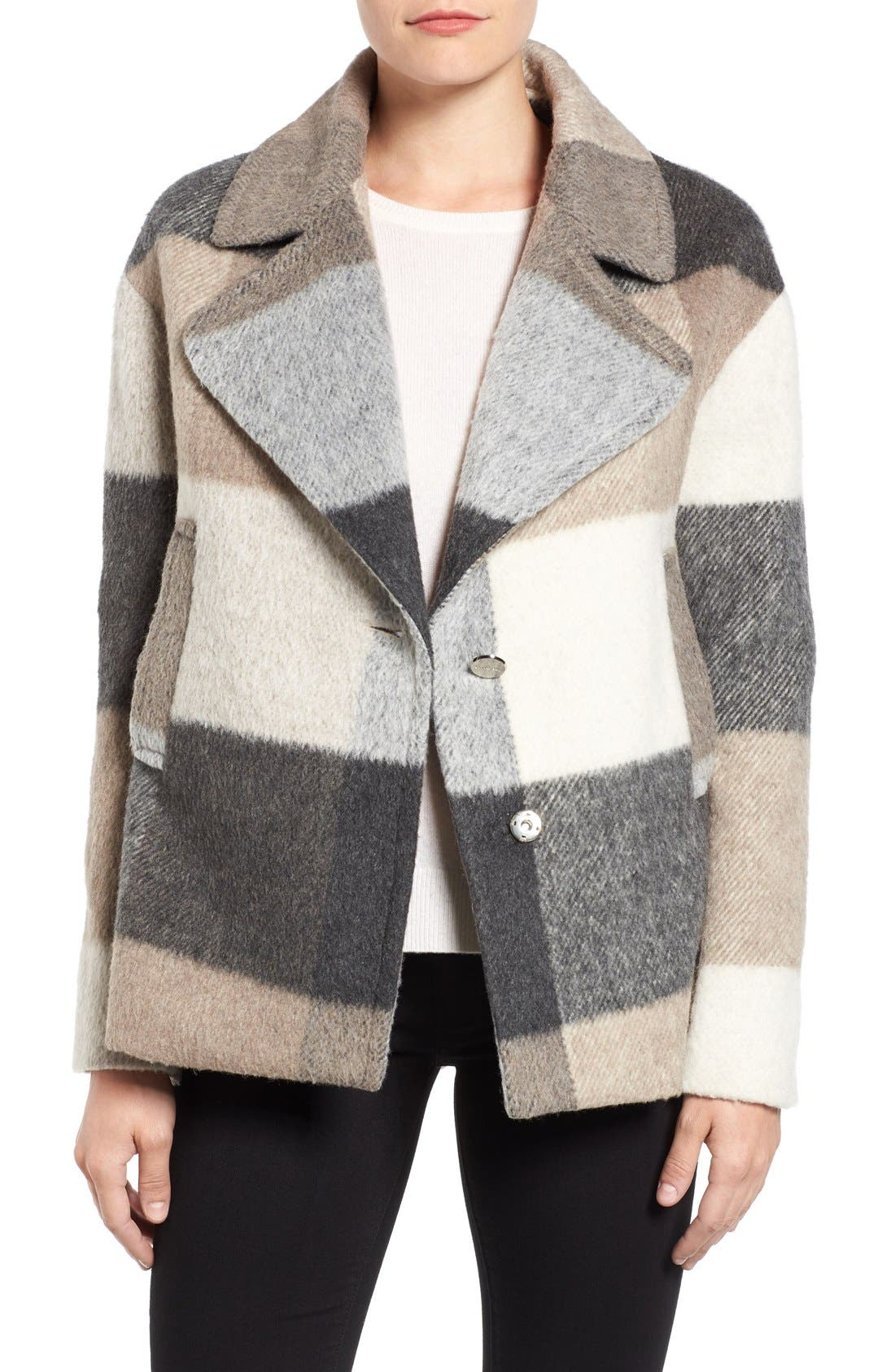 Alternate Image 1 Selected - Laundry by Shelli Segal Plaid Swing Coat