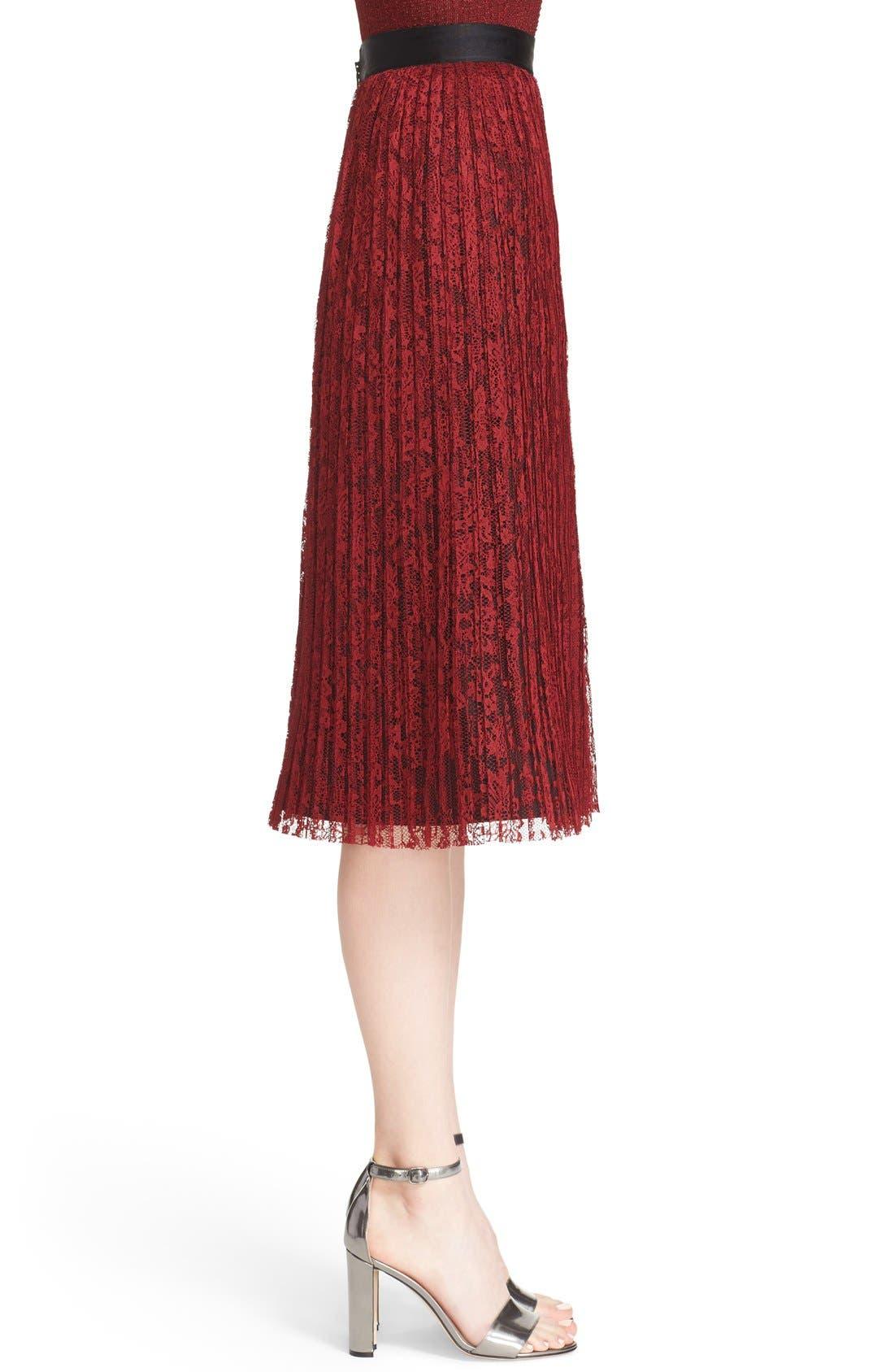 Alternate Image 4  - Alice + Olivia 'Mikaela' Pleat Lace Midi Skirt