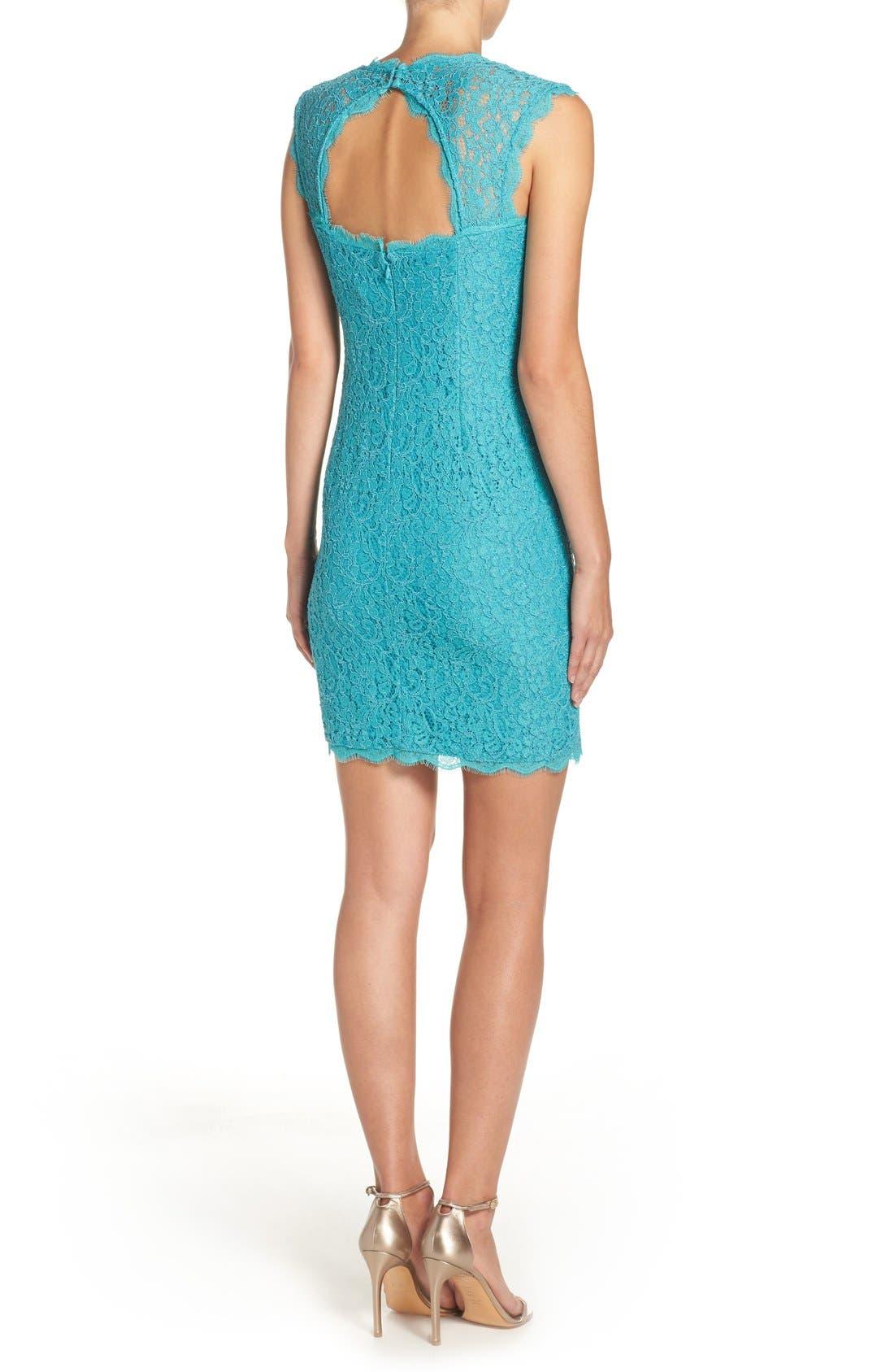 Alternate Image 2  - Adrianna Papell Lace Sheath Dress (Regular & Petite)