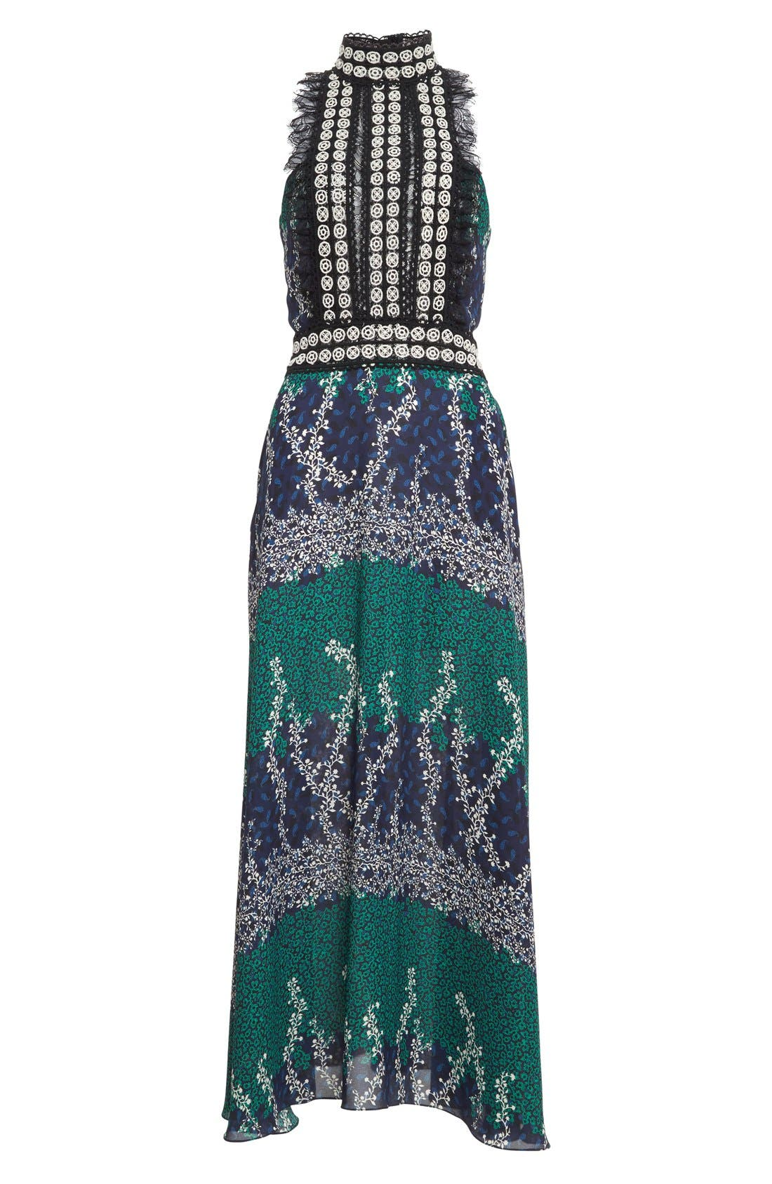 Alternate Image 4  - Yigal Azrouël Lace Trim Ivy & Paisley Print Maxi Dress