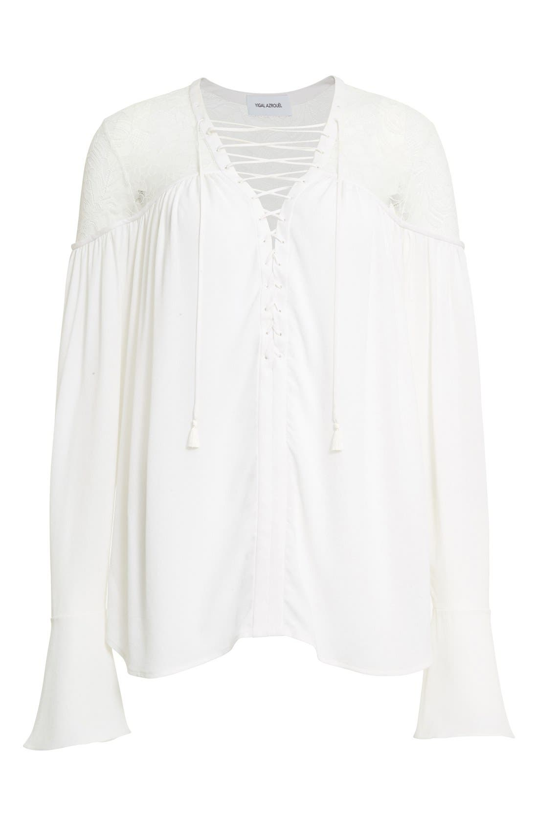 Alternate Image 4  - Yigal Azrouël Lace-Up Ruched Crepe Georgette Blouse