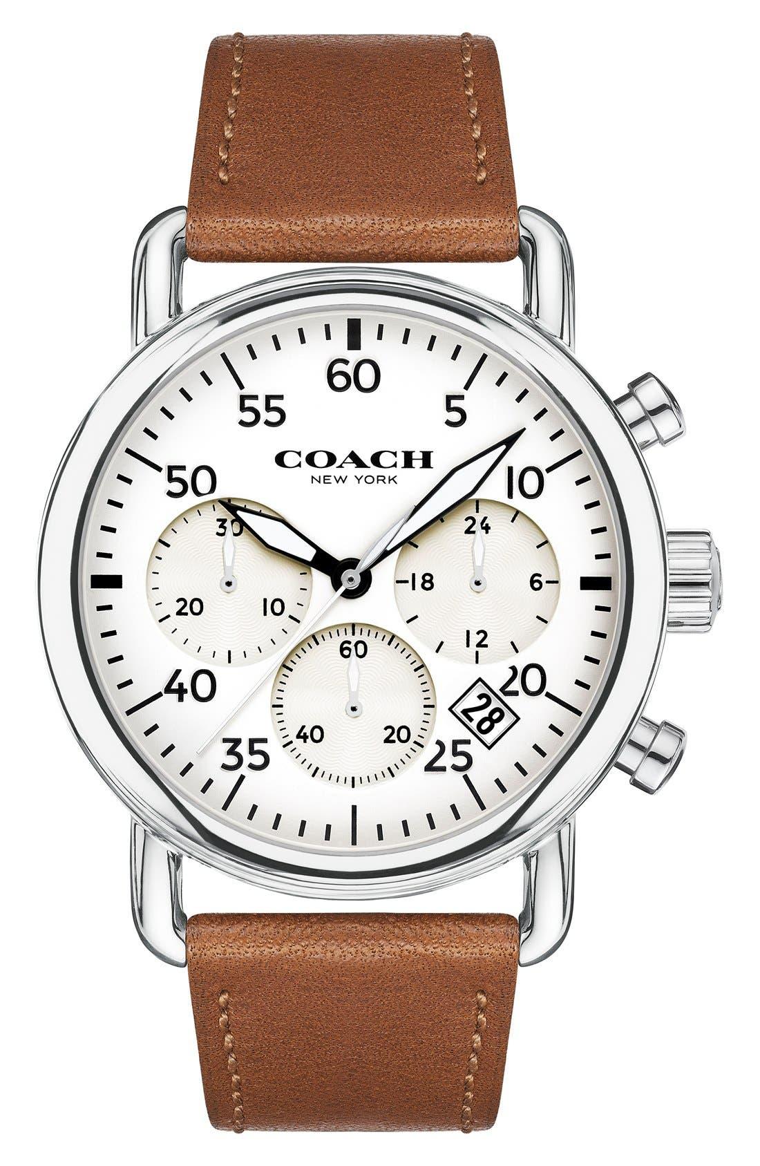 COACH 'Delancey' Chronograph Leather Strap Watch, 42mm