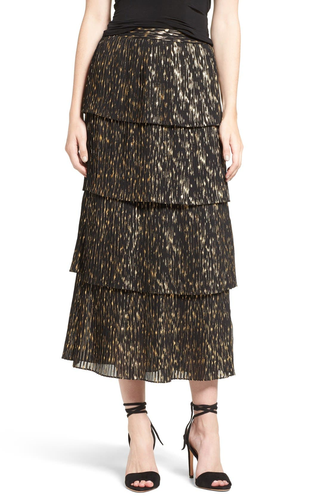 Main Image - Olivia Palermo + Chelsea28 Accordion Pleat Midi Skirt