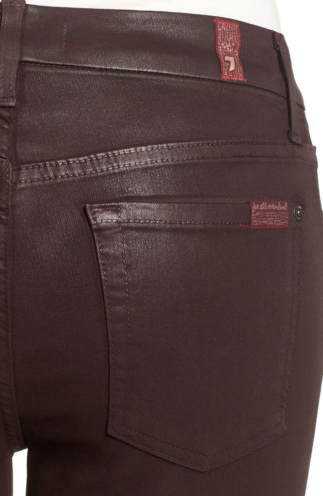 Alternate Image 4  - 7 For All Mankind® Coated Ankle Skinny Jeans (Plum Coated)