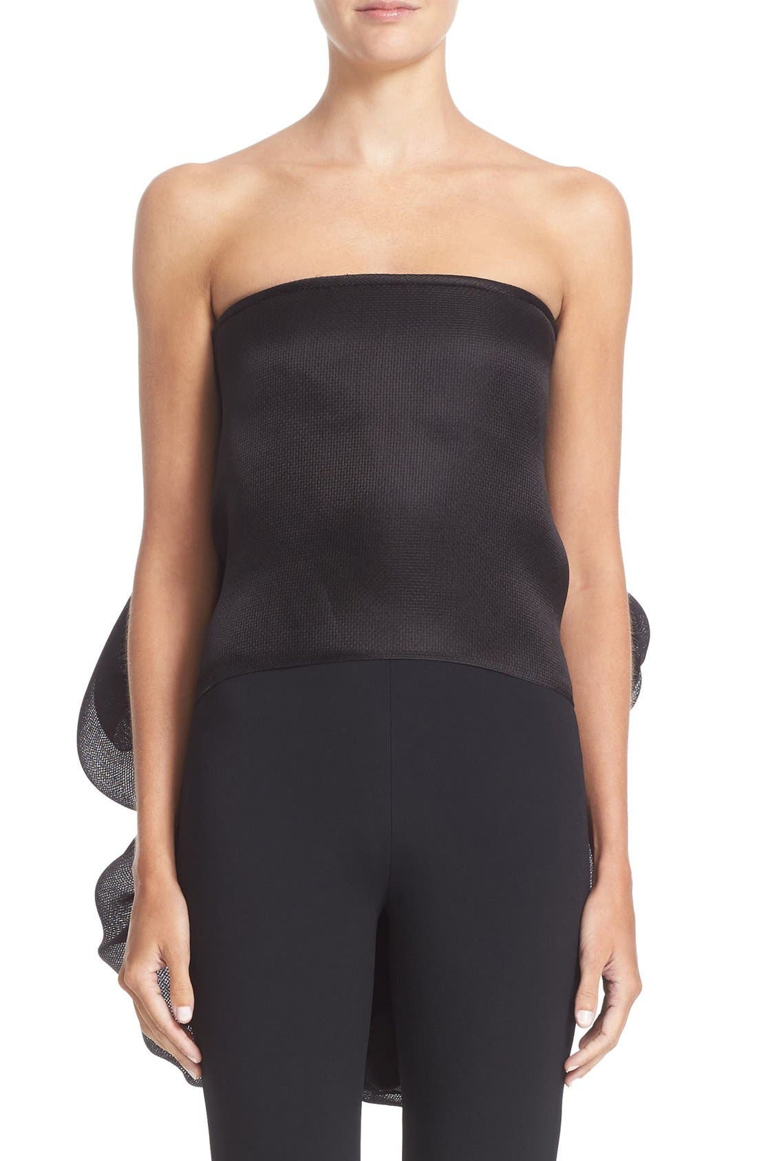 BRANDON MAXWELL Draped Back Strapless Silk Top