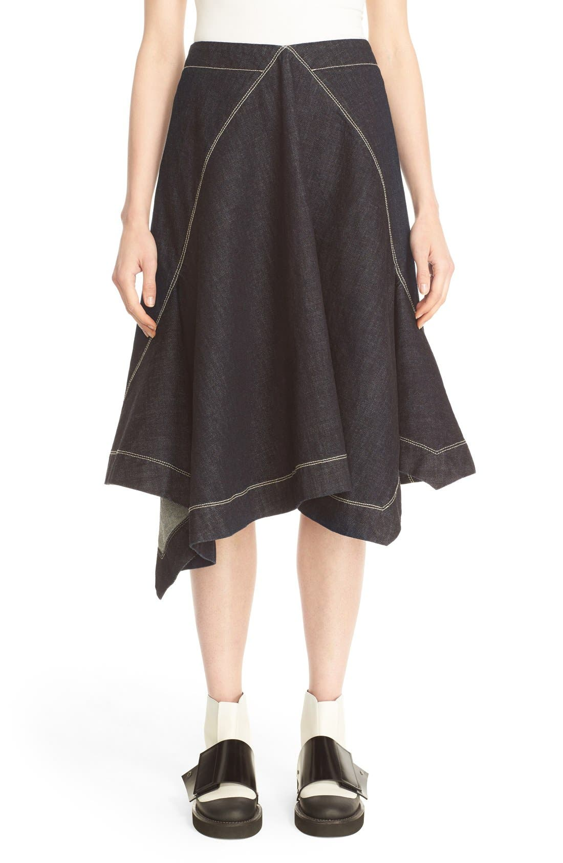 marni asymmetrical front denim skirt nordstrom