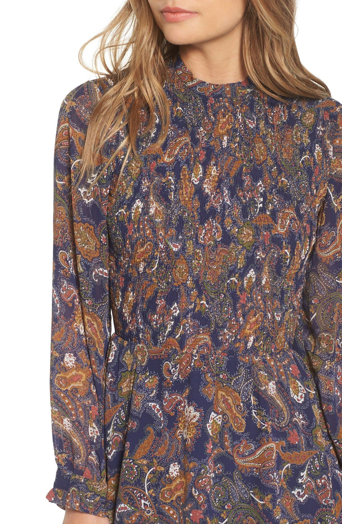 Alternate Image 4  - Sun & Shadow Paisley Smocked Dress