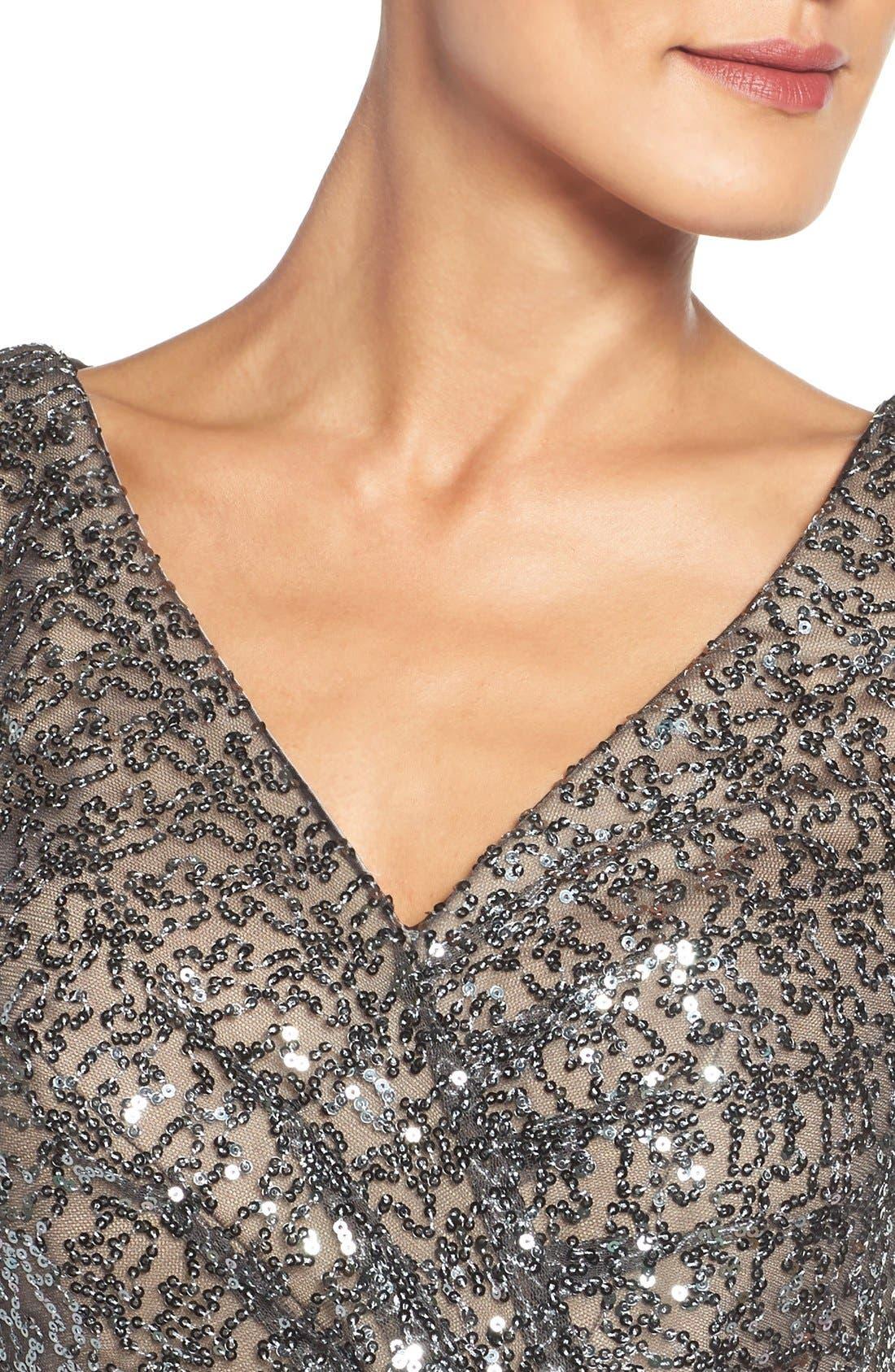 Alternate Image 4  - La Femme Sequin Mesh Gown